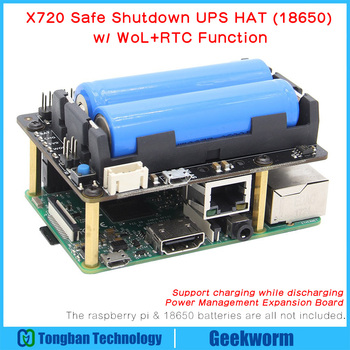 Raspberry Pi X720 UPS HAT (18650 Power)+Safe Shutdown+Wake on Lan+RTC Power Management Expansion Board for Raspberry Pi 3 B+3B floor
