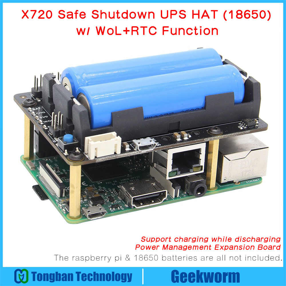 Raspberry Pi X720 UPS HAT (18650 Power)+Safe Shutdown+Wake on Lan+RTC Power Management Expansion Board for Raspberry Pi 3 B+/3B