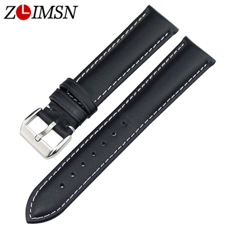 ZLIMSN Watch Strap 18mm 20 22 23 24mm Brown Black Real Leather Watchbands Stainless Steel Silver