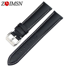 ZLIMSN Watch Strap 18mm 20 22 23 24mm Brown Black Real Leather Watchbands Stainless Steel Silver Metal Buckle Accessories