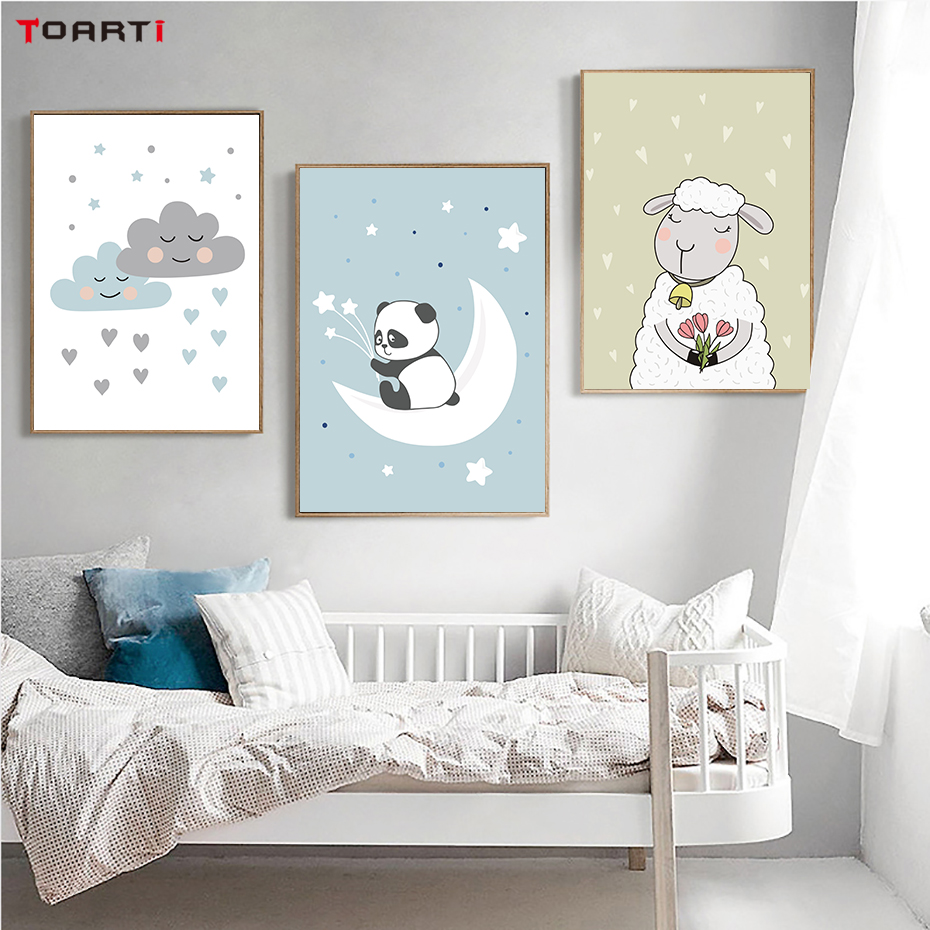 Cute Panda Sheep Nordic Canvas Art Painting Wall Picture For Baby