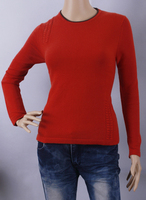 Wool Cashmere Sweater Women Rust Red Pullover O Neck Lady Sweater Natural Thick Warm High Quality