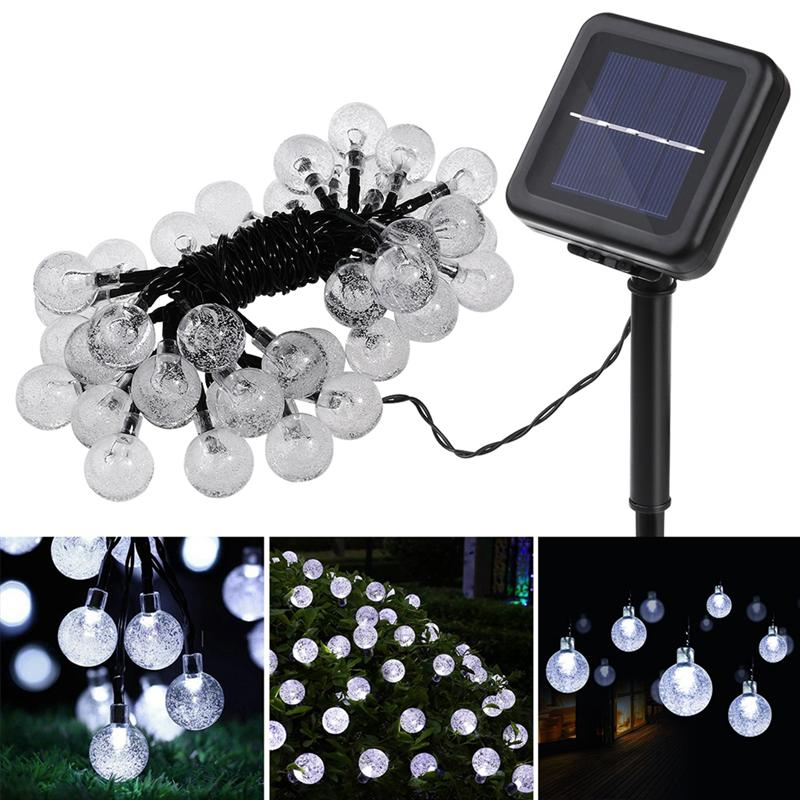 все цены на 7M 50LED Crystal Ball Solar String Lights Christmas Fairy Garden Lights for Outdoor Home Lawn Party and Holiday Decorations онлайн