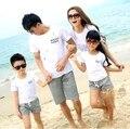 Новое Лето Повседневная Семья наряды, Отец мать дочь Сын наборы, хлопок Девочки Мальчики футболка + брюки наборы
