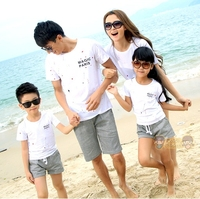New Summer Casual Family Outfits Mother Daughter Father Son Sets Cotton Girls Boys T Shirt Pants