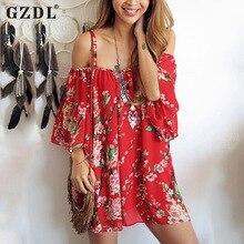 Фотография Vintage Floral Print Women Summer Beach Dress Off Shoulder Casual Loose Draped Chiffon Mini Dresses Vestidos De Verao CL2912