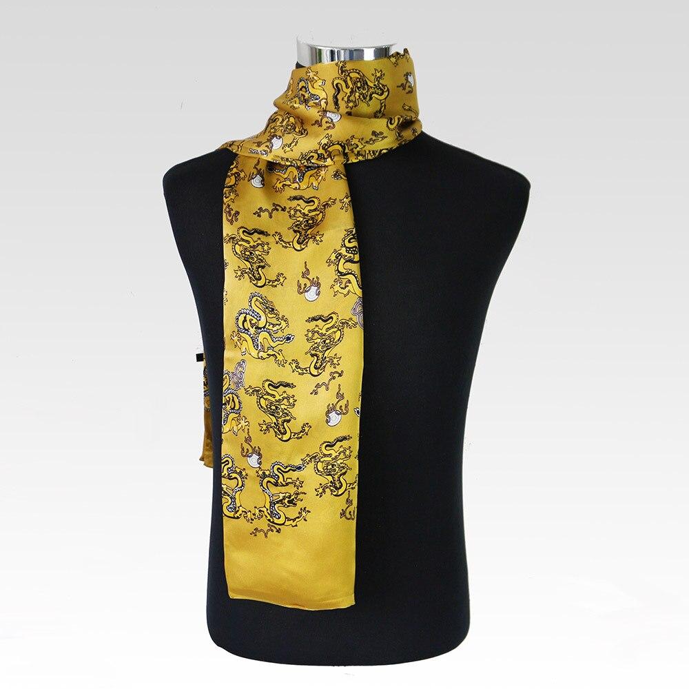 Dragon chinois imprimé cravate mâle Double couche soie Satin chefs Loong Pure soie foulard hommes Plaid Cachecol NWJ10