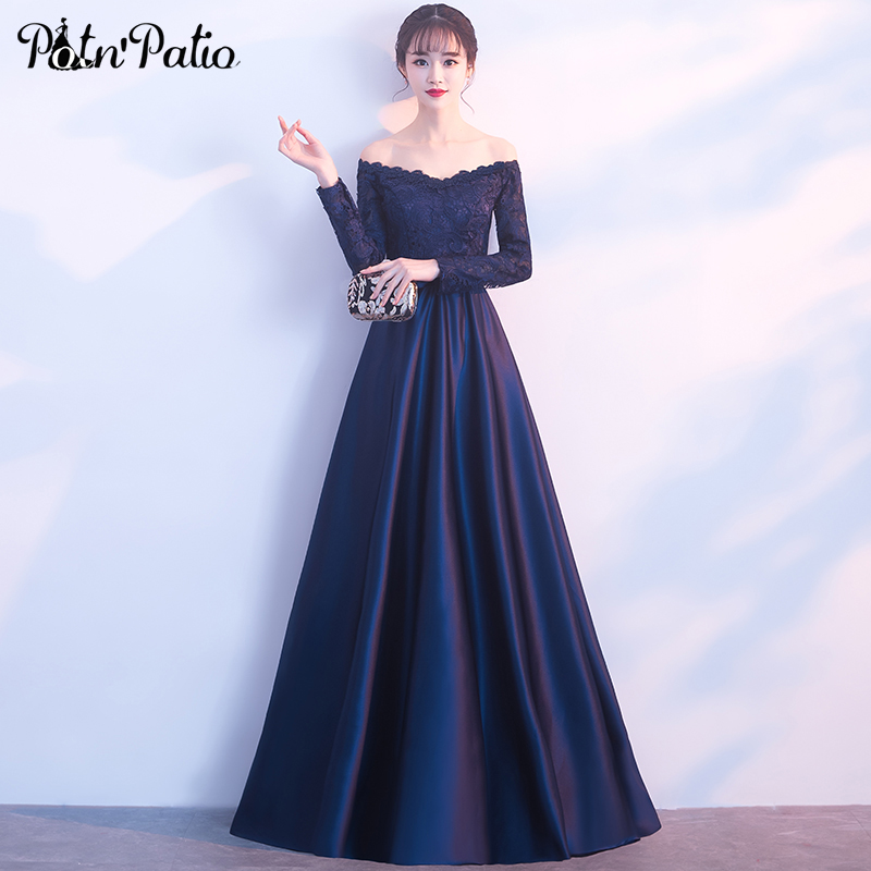 Elegant Long Sleeve   Prom     Dresses   2018 Navy Blue Satin Simple Floor-Length Long Evening   Dresses   Plus Size