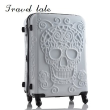 Пътуване приказка личност мода 19/24/28 инч валцуване багаж Spinner марка пътуване куфар оригинален 3d череп багаж  t