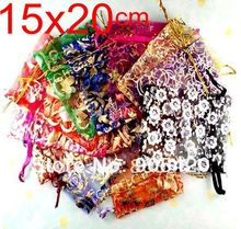 ФОТО omh wholesale 50pcs 15x20cm love flowers rose heart christmas wedding voile organza bags jewlery packing gift pouch bz08