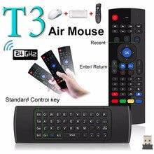 T3m ar mouse 2.4g sem fio mini teclado mx3 com voz retroiluminado russo controle remoto ir aprendizagem giroscópio para android caixa de tv