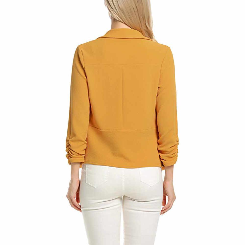 女性労働事務所コート 3/4 袖ブレザーオープンフロントショートカーディガンスーツのジャケットプラスサイズのブレザーブレザーロンゴ feminino z0521