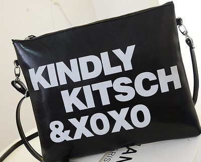 New Kindly Kitsch Xoxo Handbags Pu Leather Women Shoulder Bag Casual Clutch Messenger