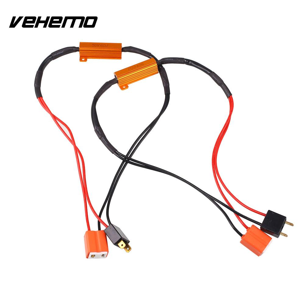 Vehemo Decoder Gold Resistive Filter Load Resistor Vehicle Auto LED H7 Portable Quality fsylx 2pc car h7 led warning canceller harness resistor 50w h7 decoder hid led headlight fog lamps h7 led load resistor decoder