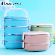 LANSKYWARE Japanese Lunch Box For Kids School Leakproof Stainless Steel Bento Thermal Food Container Children Picnic Set