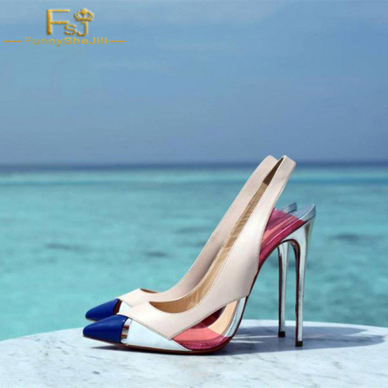 Slingback Pumps Shoes Stiletto-Heels Heel-Height 12cm Multi-Color Pointy-Toe Woman Ladies