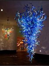 лучшая цена Modern Chandelier Large Blue Murano Glass Art Lamps Style 100% Handmade Blown Glass Ceiling Chandelier with LED Bulbs