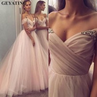 Elegant Champagne Tulle Princess Evening Dress 2019 Off The Shoulder Crystal Long Formal Prom Dresses Special Occasion Gowns
