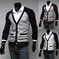 2014 New Spring Brand Casual Patchwork Deep V-neck Slim fit Thin Mens Sweaters Cardigan Outerwear Man Clothing M-XXL