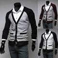 2014 nueva primavera marca ocasional del remiendo del v-cuello Slim fit Mens delgados suéteres Cardigan prendas de vestir exteriores hombre ropa M-XXL