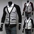 Primavera Patchwork V - neck Slim fit homens magros camisolas do casaco homem Outerwear M-XXL