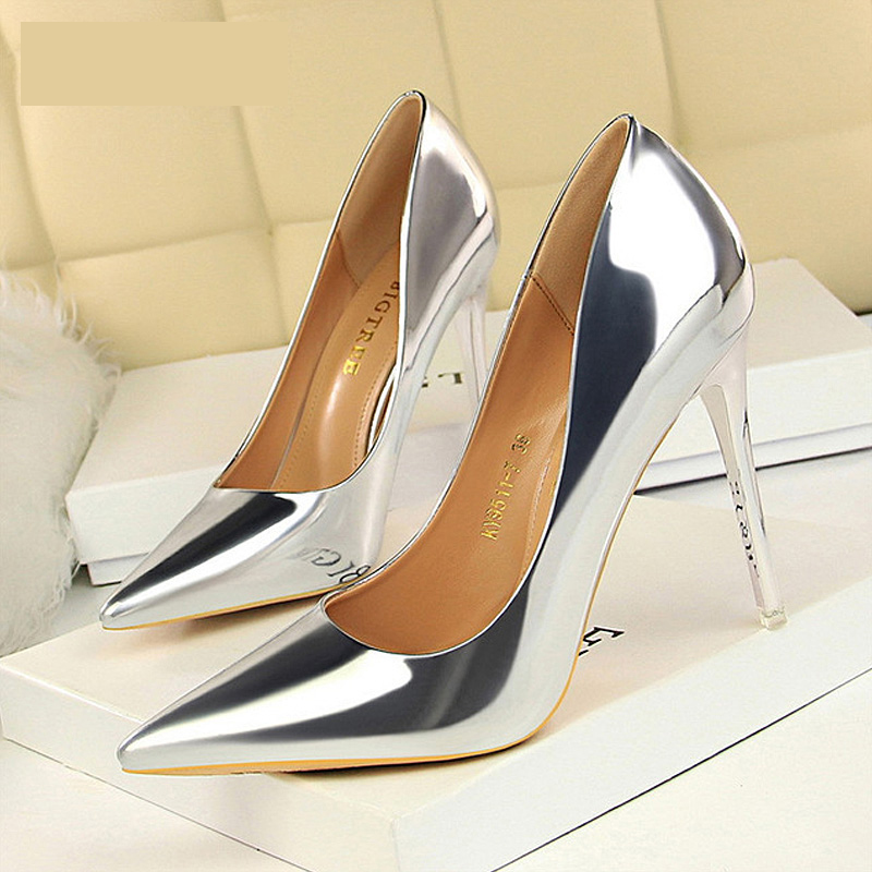 BIGTREE Women Pumps Shoes New Patent Leather Fashion Women Sexy High Heels Shoes Office Shoes Women's Wedding Shoes Party jiqi stainless steel electric crepe maker plate grill crepe grill machine page 8