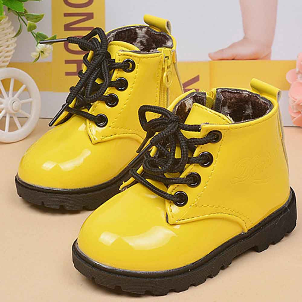 Winter Baby Boys Girls Shoes Martin Boots Children Leather Casual Kids Fashion Warm Thick Snow Booties Toddler Anti-Slip BFOF