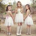 Estilo europa Crianças Baby Girl Roupas Vestido de Lantejoulas Backless Amor Vestidos de Marca de Moda Meninas Vestido de Princesa Roupas Para 3-9Y