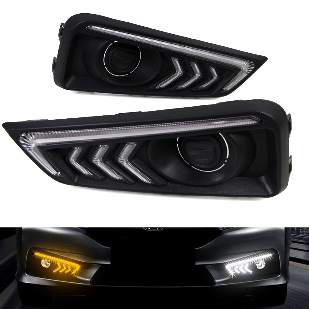 Daytime Running Light DRL  For Honda City 2015 2016 Left And Right Fog Light Cover White DRL Yellow Turning Signal Light