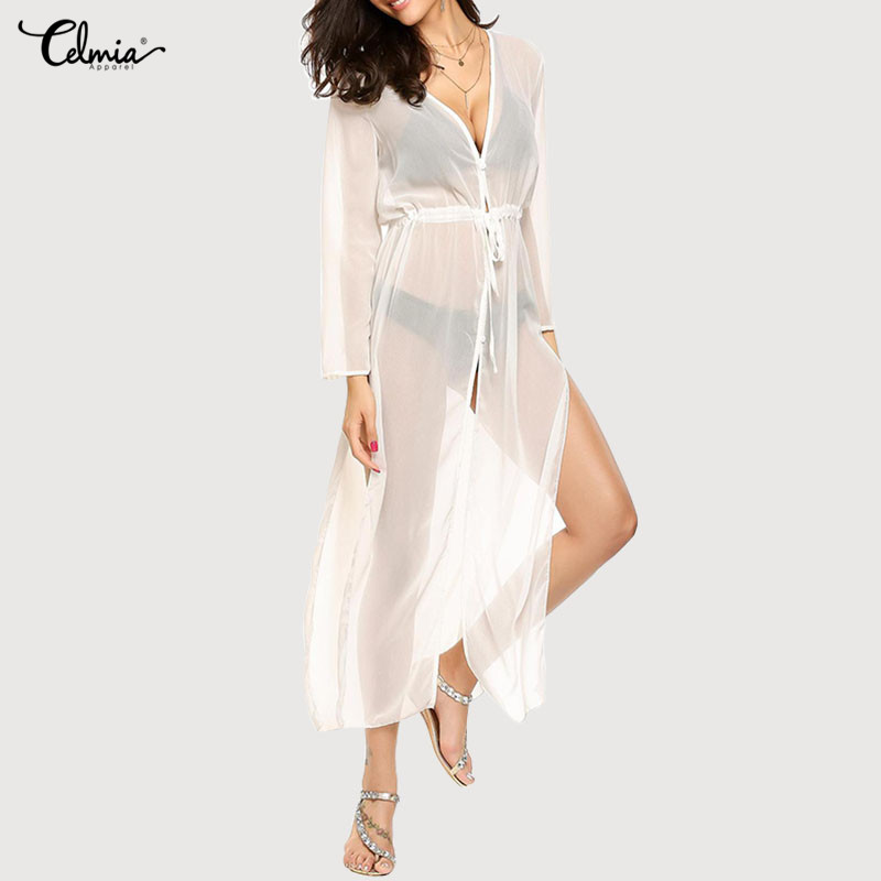 Celmia Beach Cover Up Women Kimono Cape 2018 Chiffon Blouse Bikini Cover Ups Robe De Plage Summer Cardigan Swimsuit Long Top 3XL
