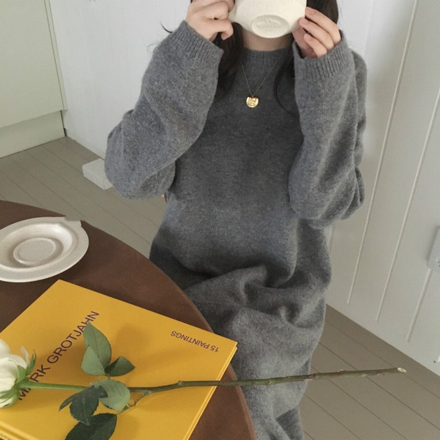Women autumn Winter Long Sweater Dress Female Long Sleeve Straight oversized Knitted dresses round collar cozy 2