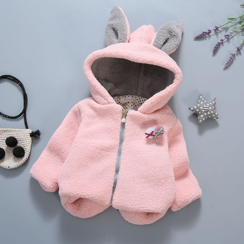 Hot Sale Baby Girls Thickening Rabbit Cotton Coat Jacket Kids Girls Hooded Woolen Coat With Rabbit Ear Cute Baby Girls Outfits