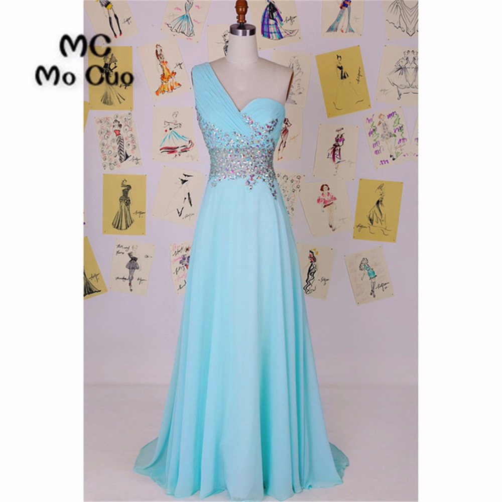 2018 One Shoulder Bridesmaid Dresses Long Sweetheart Pleat Crystals ...