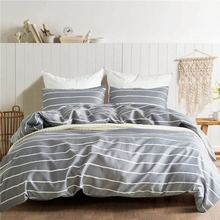 Brief Style King Size Stripe Bedding Set Bedclothes Fashion Geometric Sanding Pillowcase Duvet Cover Sets Bedroom Home Textiles