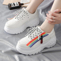 Women's shoes autumn woman fashion sneakers 2019 tide thick bottom colorful rainbow Lace Up high female footwear with zippers