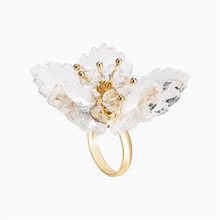 Statement Big Flower Adjustable Rings For Women Sweet Transparent Acrylic Personality Fashion Jewelry Party Wedding Bijoux