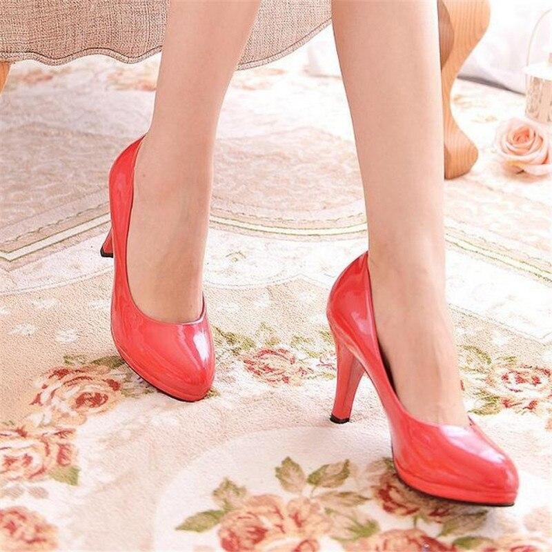 Redonda Zapatos Grandes blanco Negro 2017 rojo Profesional Negro Tacón Talón Solo Cómodos Trabajo Alto De Cuero Vestir Yardas Cabeza qxY54