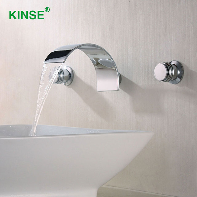 KINSE Contemporary Chrome Finish 3pcs Waterfall Faucet Mixer Wall ...
