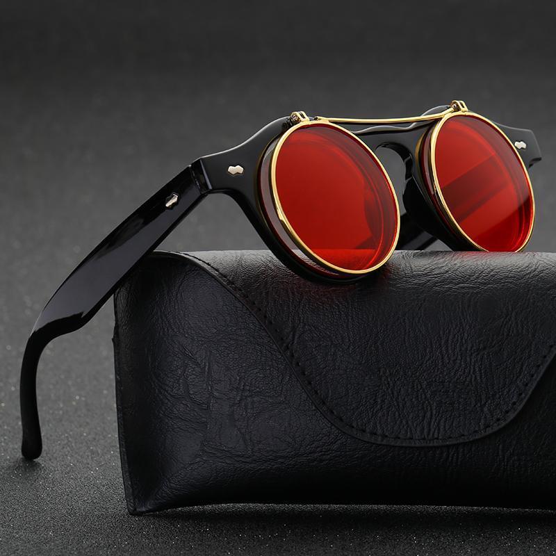 Pop age 2018 nuevo vintage Steampunk Gafas de sol mujeres hombres marca diseñador metal espejo redondo rojo Flip Sol lentes de sol