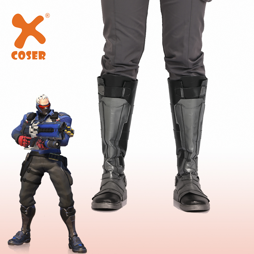 Xcoser OVERWATCH Soldier 76 Boots Cosplay Costume High Quality Mid Calf Boots Halloween Party Dress Professional Cosplay Shoes image