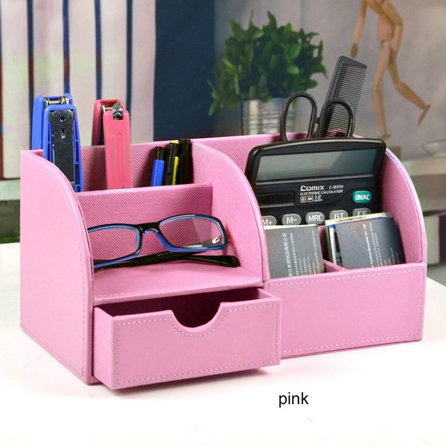 High Quality Simple Desktop Desk Decor Stationery Organizer Box With Drawer  For Office Desk Accessories Pen