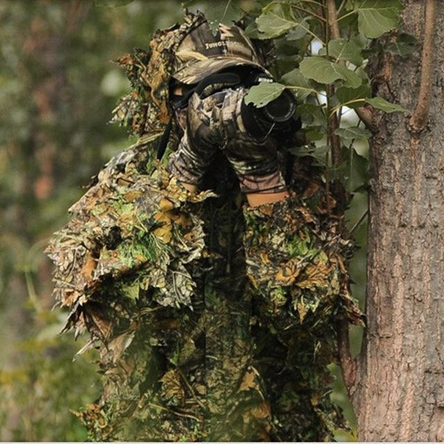 Ghillie Suit Set Outdoor Sport CS Camouflage Suits 3D Camo Bionic Leaf Jungle Woodland Airsoft War Games Sniper Hunting Clothes
