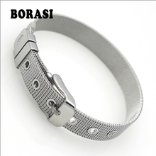 Hot Classic Fashion Jewelry Bracelets Bangles fine Stainless Steel Wristband Bracelet For Women Top Quality Wholesale And Retail cheap BORASI Metal Toggle-clasps None Charm Bracelets ROUND Stainless Steel Mesh Chain Adjustable 14 5cm - 19 5 cm