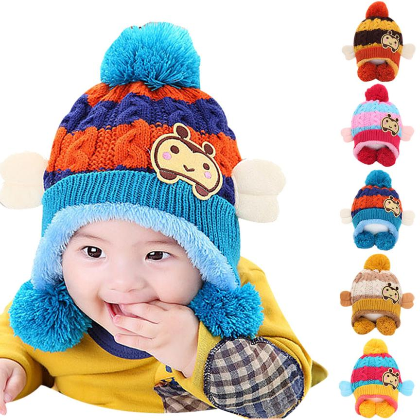10-24 Months Baby Cartoon Hats Winter Autumn Warmed Baby Hats Lovely Cute Baby Beanie HAT Kids Caps Ball Knits Cap Gorras #JD#
