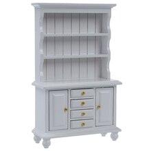 1 12 Dollhouse Miniature Furniture Multifunction Wood Cabinet Bookcase White
