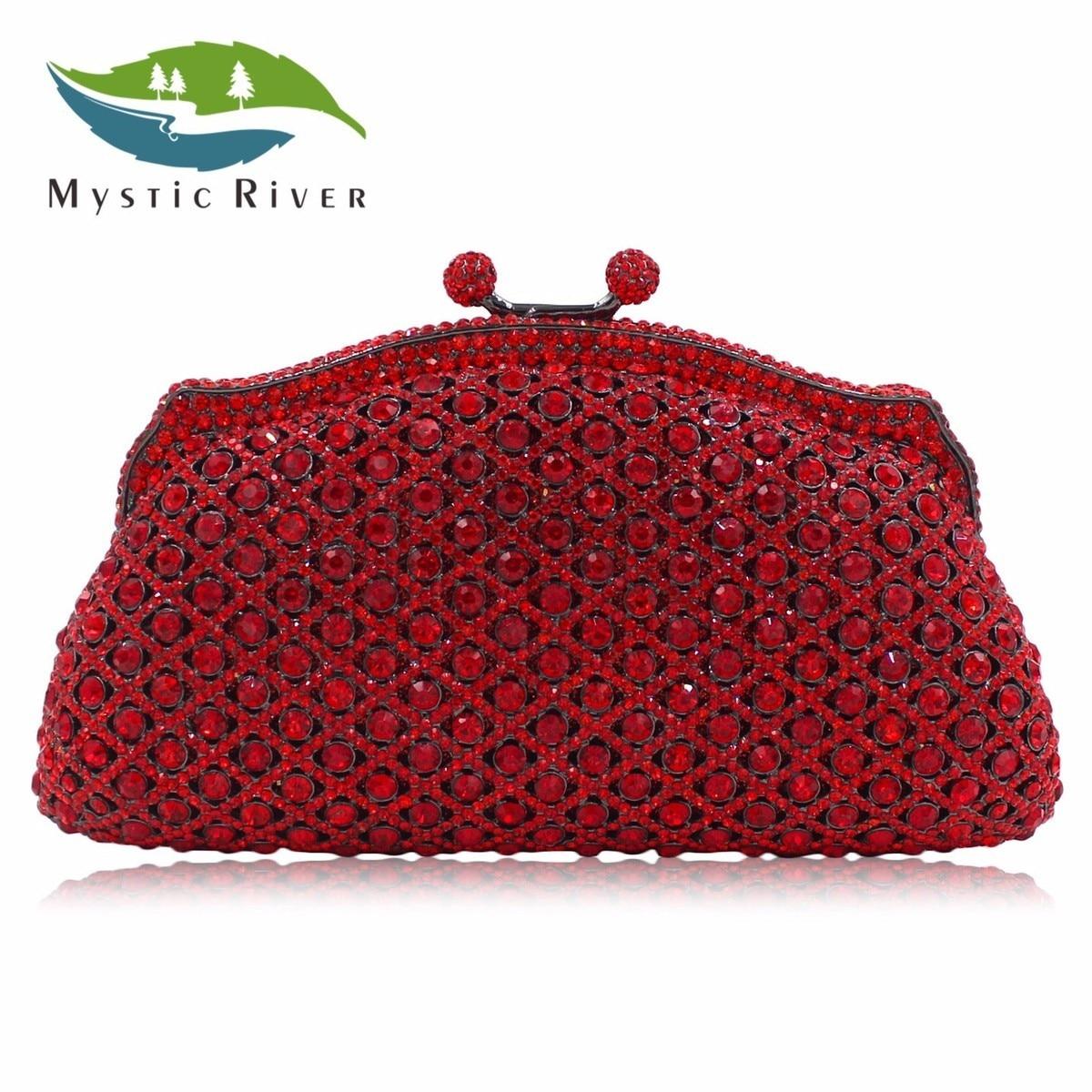 Mystic River New Women Luxury Diamond Evening bags Handbag Crystal Clutches Party Wedding Purse Red Chain as16 9 rose top fashion luxury diamond african handbag purse for party wedding