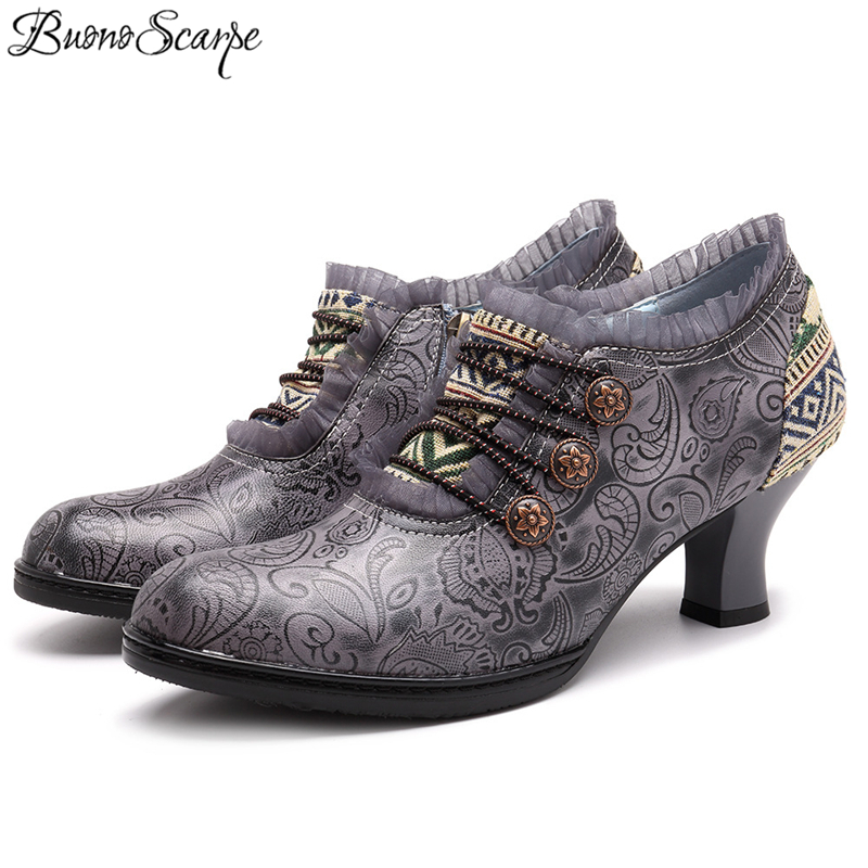 BuonoScarpe Fashion High Heel Shoes Plus Size 41 42 Ethnic Women Pumps Spring And Autumn Handmade