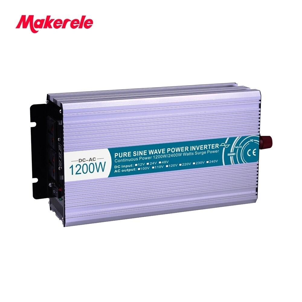 Чистая синусоида инвертор 1200 Вт DC12/24/48 В к AC110/220 В дома Мощность преобразователь частоты конвертер USB Электрический Питание