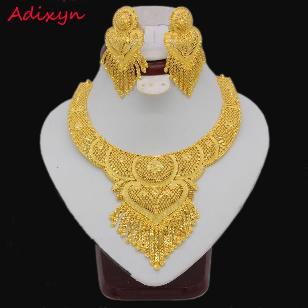 Luxe collier/boucles d'oreilles ensemble de bijoux pour femmes filles couleur or elégant arabe/éthiopien nuptiale mariage/fête cadeaux