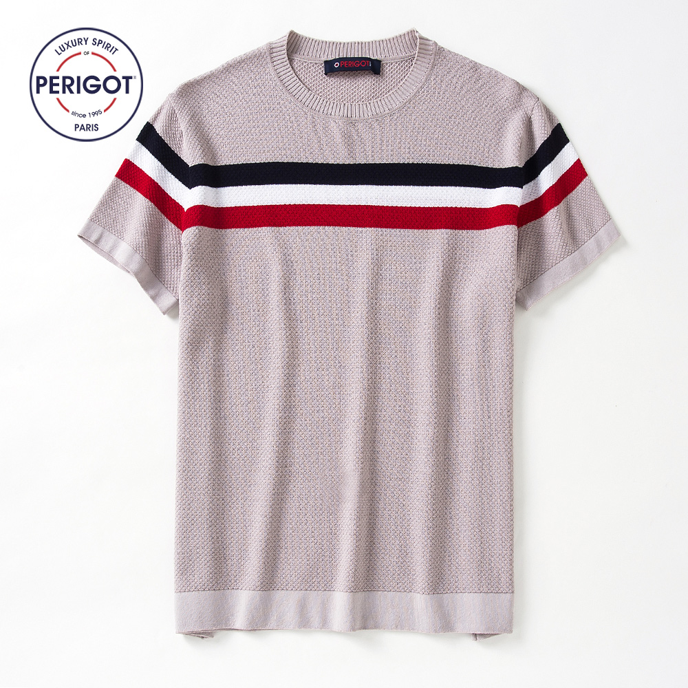 PERIGOT PGM1766 2017 New Summer Men s Short Sleeve Knitted Sweater T shirt Male Contrast Color